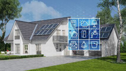 House with solar system and smart home technology