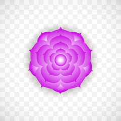 Crown chakra Sahasrara in violet color on transparent background. Isoteric flat icon. Geometric pattern.