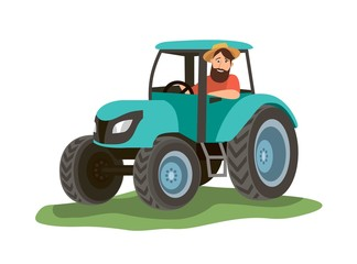 a man sits in a blue tractor and looks out the window