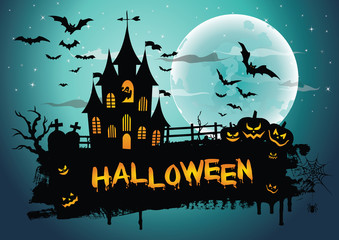 Halloween night background picture with creepy castle and pumpkins. Vector elements for banner, greeting card halloween celebration, halloween party poster.