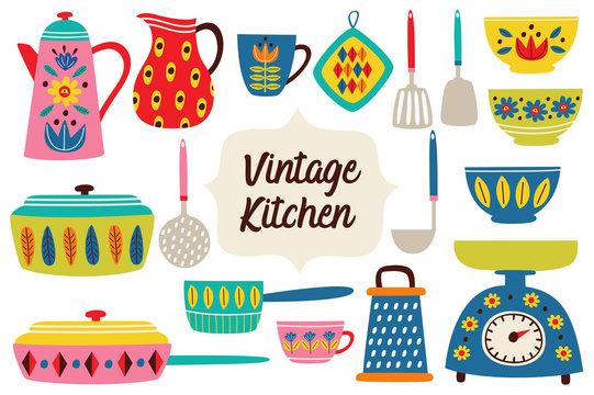 set of isolated vintage kitchen utensils part 2 - vector illustration, eps