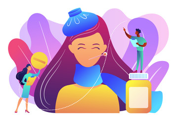 Sick woman with flu and cold symptoms and doctors, tiny people. Seasonal flu, contagious respiratory illness, influenza viruses treatment concept. Bright vibrant violet vector isolated illustration