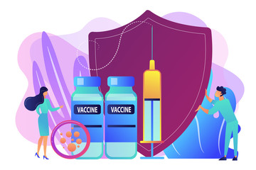Tiny people doctors and syringe with vaccine, shield. Vaccination program, disease immunization vaccine, medical health protection concept. Bright vibrant violet vector isolated illustration