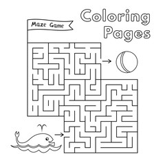 Cartoon Whale Coloring Book Maze Game