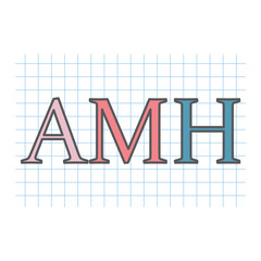 AMH (Anti-Müllerian hormone) acronym on checkered paper sheet- vector illustration