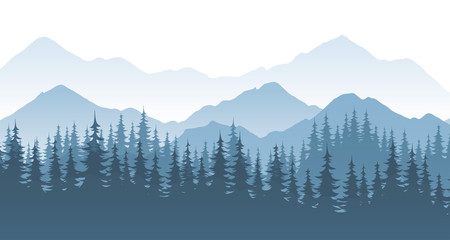 Ingelijste posters Blauwe jeans Mountain forest, vector landscape illustration