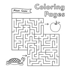 Cartoon Turtle Coloring Book Maze Game