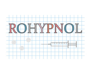 Rohypnol word on checkered paper sheet- vector illustration