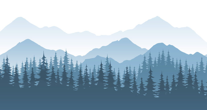 Mountain forest, vector landscape illustration