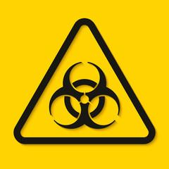 Biohazard dangerous sign isolated on yellow background. Vector illustration
