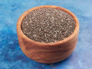 A bowl of chia seeds (Salvia hispanica)