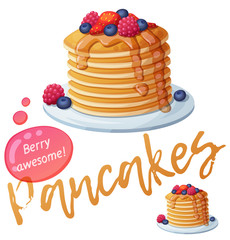 Pancakes with berries and honey icon. Cartoon vector illustration isolated on white background. Series of food and drink and ingredients for cooking