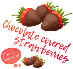 Chocolate covered strawberries icon isolated on white background. Cartoon vector illustration. Series of food and drink and ingredients for cooking