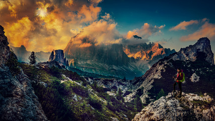 Great sunset view of the top Tofana di Rozes and Cinque Torri range in  Dolomites, South Tyrol. Location Cortina d'Ampezzo, Italy, Europe. Dramatical cloudy scene. Beauty of mountains world.