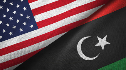 United States and Libya two flags textile cloth, fabric texture