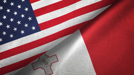 United States and Malta two flags textile cloth, fabric texture