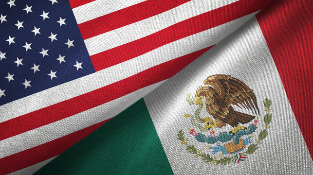 United States and Mexico two flags textile cloth, fabric texture