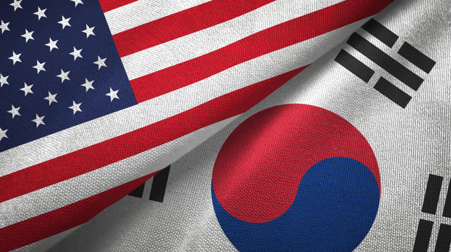 United States and South Korea two flags textile cloth, fabric texture
