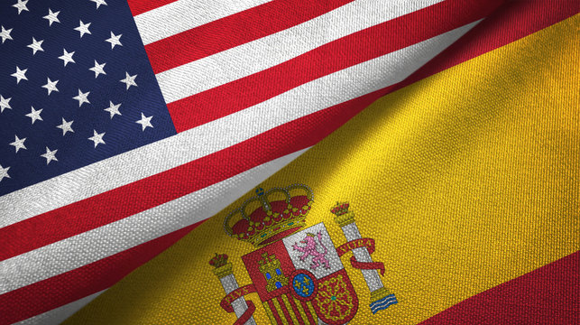 United States and Spain two flags textile cloth, fabric texture