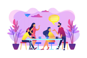 Group of friends sitting at the table talking, drinking coffee and tea, tiny people. Friends meeting, cheer up friend, friendship support concept. Bright vibrant violet vector isolated illustration