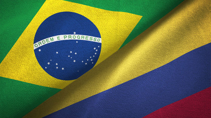 Colombia and Brazil two flags textile cloth fabric texture