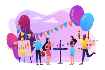 Happy tiny business people dancing, having fun and drinking wine. Corporate party, team building activity, corporate event idea concept. Bright vibrant violet vector isolated illustration
