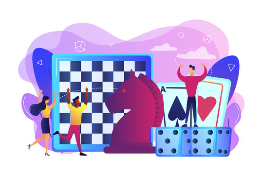 Entertainment of tiny people playing and winning chess, game cards and dice. Board game, leisure time activity, whole family activity concept. Bright vibrant violet vector isolated illustration