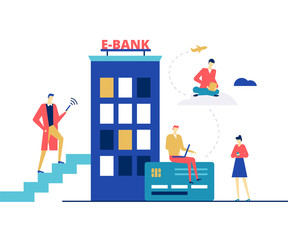 E-banking concept - flat design style colorful illustration