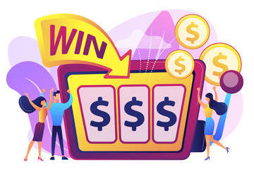 Lucky tiny people gambling and winning money at slot machine with dollar sign. Slot machine, money game winner, jackpot win concept. Bright vibrant violet vector isolated illustration