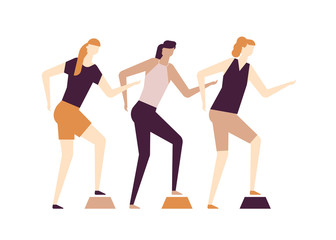 Girls doing fitness - flat design style colorful illustration