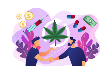 Drug dealer distributing and selling marijuana, pills and syringe to customer. Drug trafficking, illegal drug trade, global black market concept. Bright vibrant violet vector isolated illustration