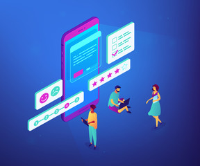 Tiny people at smartphone filling out questionnaire form and rating. Online survey, internet questionnaire form, marketing research tool concept. Ultraviolet neon vector isometric 3D illustration.