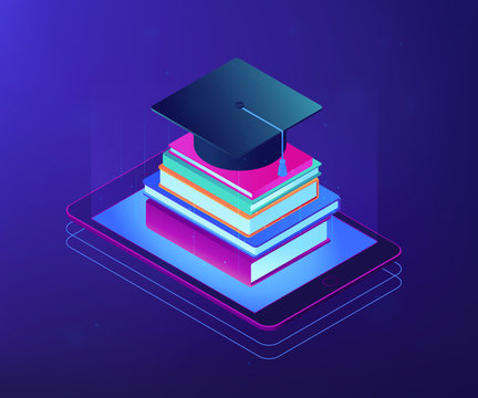 Online education with tablet and stack of books, academic cap on it. Digital education, online courses growing, e-school graduation concept. Ultraviolet neon vector isometric 3D illustration.