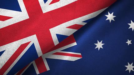 United Kingdom and Australia two flags textile cloth, fabric texture