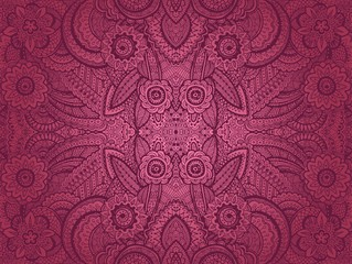 Vector seamless abstract hand drawn pattern with floral ornament