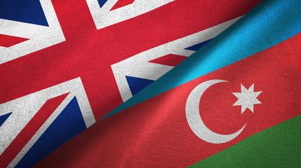 United Kingdom and Azerbaijan two flags textile cloth, fabric texture