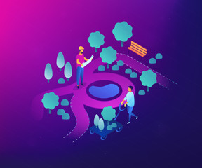 Tiny people landscape designer planning and gardener planting decorative plants. Landscape design, landscape planning, gardening services concept. Ultraviolet neon vector isometric 3D illustration.