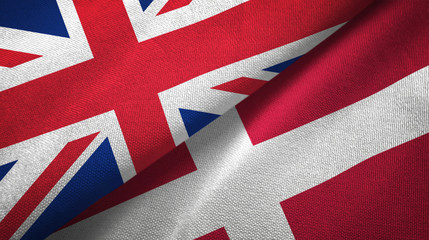 United Kingdom and Denmark two flags textile cloth, fabric texture