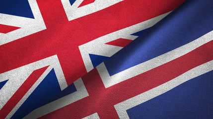 United Kingdom and Iceland two flags textile cloth, fabric texture