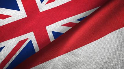 United Kingdom and United Kingdom and Indonesia two flags textile cloth Fototapete