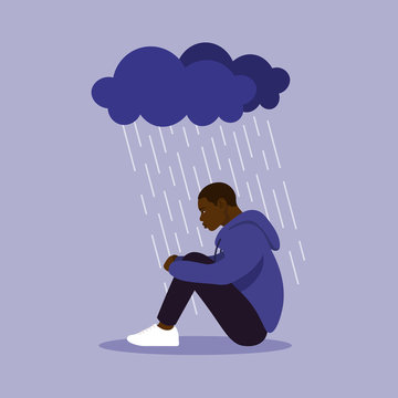 Profile of African American. A man sits clasping his legs. Depression and melancholy. Vector flat illustration
