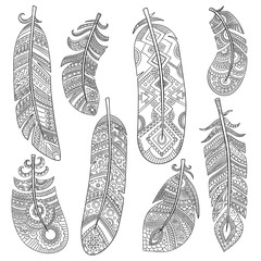 Indian tribal feathers. Fashion aztec bird american pattern vintage feathers vector monochrome pattern. Illustration of tribal ethnic feather, ornamental fashion