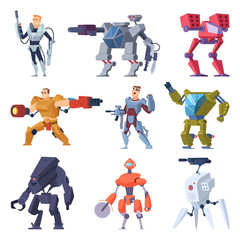 Combat robots. Armor transformers android protective electronic soldier future weapon vector characters. Illustration of robot machine, combat robotic technology