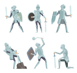 Cartoon knights. Medieval warrior on horse vector cartoon characters in action poses. Warrior knight soldier in different pose figure illustration