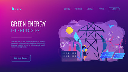 Engineer choosing power station with solar panels and wind turbines. Alternative energy, green energy technologies, eco-friendly energetics concept. Website vibrant violet landing web page template.