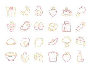 Food colored icon. Bread fish fruits vegetables menu items and kitchen tools for preparing vector thin line symbols. Illustration of bread and fruit, scrambled eggs and lemon