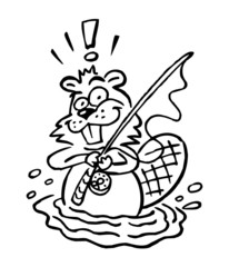 Fisherman beaver with fishing rod cartoon joke black and white