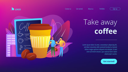 Businessmen drinking take away coffee at huge paper coffee cup and beans. Take away coffee, on the go drink, take away business concept. Website vibrant violet landing web page template.