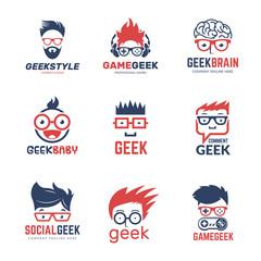 Geek logo. Business identity of smart programmers thinking nerd computer education vector design template. Programmer geek and smart nerd illustration