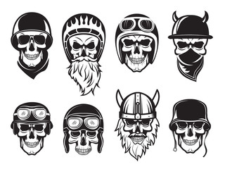 Skull bandana helmet. Bikers rock symbols tattoo vector black pictures. Illustration of rock biker skull, set of tattoo vintage drawing